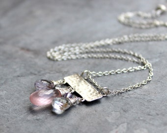 Pink Gemstone Necklace Rose Quartz Sterling Silver Slider Pendant Hammered Pink Amethyst Multi Stone