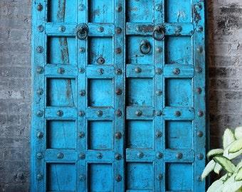 Antique Indian Door Set Teak Wood Blue Haveli Doors Global Influenced Decor Indian Furniture Moorish Moroccan