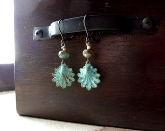 40% OFF SALE! - Verdigris Patina Shell Pendants with Mossy Picasso Czech Bead Earrings