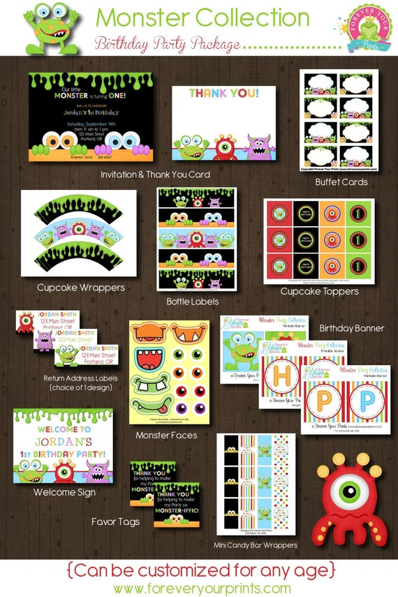 Monster Party Package / Monster Birthday Invitation / Monster Party / Little Monster Party / Monster Printables / 1st Birthday Invitation