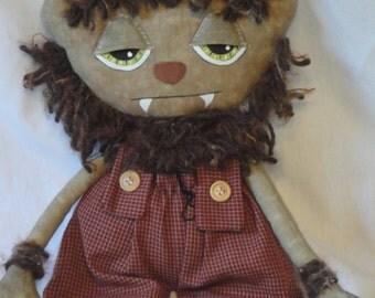 Werewolf, Primitve Halloween Cloth art doll, creepy, spooky, day of the dead, monster, horror Doll Handmade