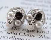 Petite Mix it Up Series - Sterling Silver Wire Wrapped Stud Earrings With Stardust Beads and Silver, Black, and White Swarovski Glass Pearls