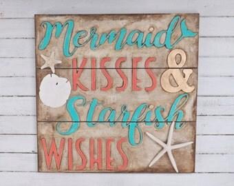 Mermaid Kisses Starfish Wishes ~Framed Mermaid Sign ~Turquoise ~Coral~Nautical~Beach House~Mermaid Wall Art