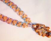 Colorful Autumn Hemp Necklace, hemp jewelry, macrame, micromacrame, hippie, Fall, music festivals
