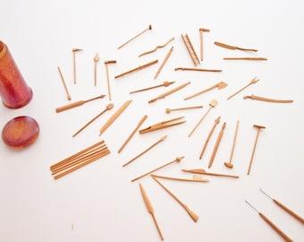 Antique Pick Up Sticks / Folk Art / Handmade, One of a kind set