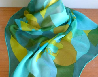 """70s Scarf - Sheer Green Blue Yellow Abstract Print - Vintage 1970s - 29"""" square"""