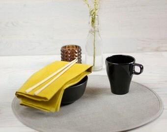 Cloth Linen Napkins Mustard Linen Cloth Napkins Set 4 Misted Yellow Classical Napkins Eco Friendly Napkins