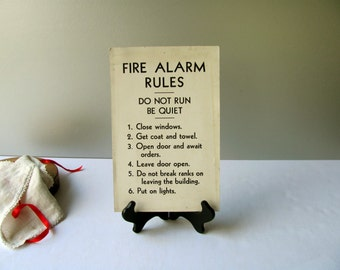 Vintage Fire Alarm Sign Military Rules Regulation Obey Orders Do not break rank Wall Hanging Display Man Cave Guy Gift Stiff Board Repurpose