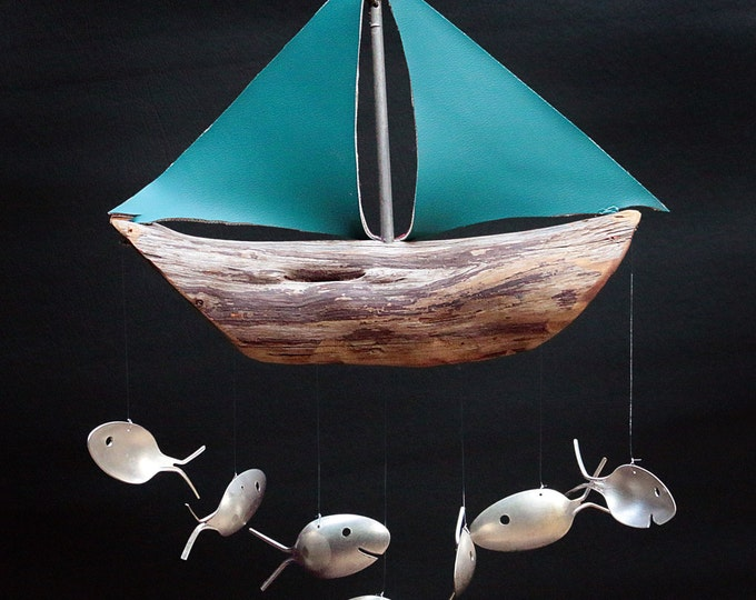 Driftwood Sailboat, Canvas Sails, Silver Spoon Fish Windchime, Modern Home, 2 Colors, Reversable Double Sided, Maroon, Teal, Marine Fabric