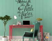 Vinyl wall decals gold lettering she is fierce by William Shakespeare quote - wall stickers for nursery or bedroom