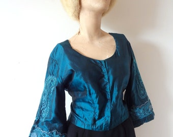 Vintage Beaded Silk Blouse from India - aquamarine corset back top - size M