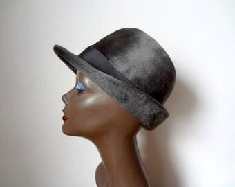 1960s Pierre Cardin Hat - grey felted bowler / fedora - designer vintage