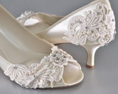 Woman's Low Heel Wedding Shoes- Woman's Vintage Wedding Lace Peep Toe Heels, Women's Bridal Shoes, Wedding Shoes, Women's shoes Bridesmaid