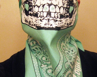 Bird egg Mint Green Paisley bandana with solid skull face mask scarf neck warmer dust shield gaiter wrap