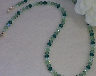 Swarovski Crystal Necklace In A Mixture Of Greens    FREE SHIPPING