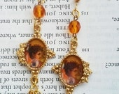 Victorian Lovely Cameo Flower Floral Rhinestone Lady Face Orange Glass Bead Hanging Jewelry Earrings