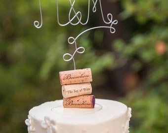 Initials Vineyard Wedding Cake Topper for the Wine Lovers, Wine Wedding Cake Decoration, Rustic Wedding Cake Topper, Rustic Centerpiece