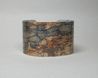 Ely Minnesota Cuff Bracelet Hometown Lake Map Unique Gift for Men or Women