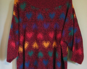 1990's over sized Club Sweater Hearts one size fts all