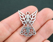 4 Angel Charms Antique Silver Tone Large Size Open Design - SC4977
