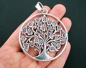 1 Tree of Life Pendant Charm Antique Silver Tone Large Size with Attached Loop - SC6005
