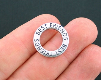4 Best Friends Charms Antique Silver Tone 2 Sided Affirmation Circle - SC3997