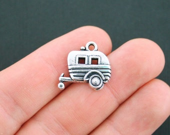 4 Camper Charms Antique Silver Tone Trailer Caravan - SC4928