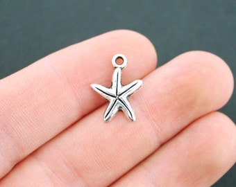 15 Starfish Charms Antique Silver Tone Adorable Smaller Size - SC2572