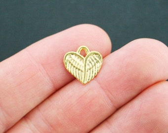 10 Winged Heart Charms Antique Gold Tone - GC526