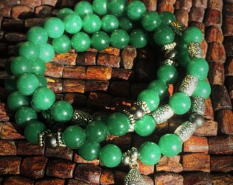 Stackable Green and Silver Buddha bracelet