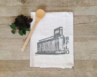 Tea Towel - Buffalo NY Kitchen Towel Riverworks Grain Elevator Rustbelt Decor Home Decor WNY New York Towel