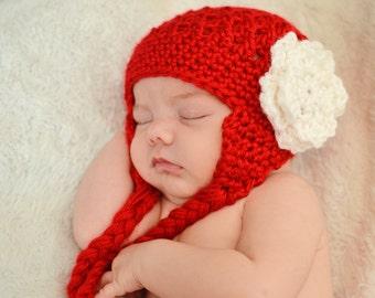 Red Earflap Hat With Braids & Flower, Newborn to 3 months, photography prop, winter hat, newborn hat, baby hat, hat with flower
