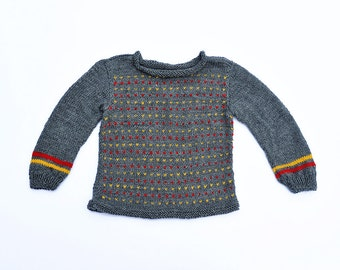 Baby Toddler Girl Boy hand Knitted grey red yellow stripes striped wool warm Fall Winter Sweater baby shower gift 12-18-24 months 2T 3T 4T 5