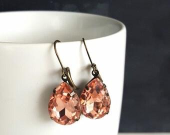 Coral Dangle Earrings. Rhinestone Dangle Earrings. Crystal Teardrop Earrings. Wedding Jewelry