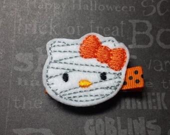 """Halloween Felt Hair Clip """"Mummy Kitty""""  - For Infant Toddler Girl"""