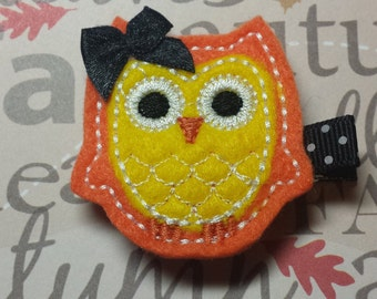 "Owl Fall Felt Hairbow  Clippie  ""Fanny"" - For Infant Toddler Girl"