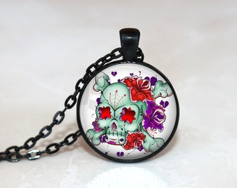 Sugar Skull Necklace Glass Tile Necklace Day of the Dead Glass Tile Jewelry Sugar Skull Jewelry Black Necklace Black Jewelry Silver Jewelry