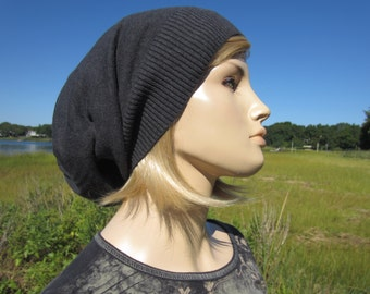 Women's Oversized Tams Hats Big Head Slouchy Beanies Combed Cotton Lightweight Knit hat Charcoal Gray A1385