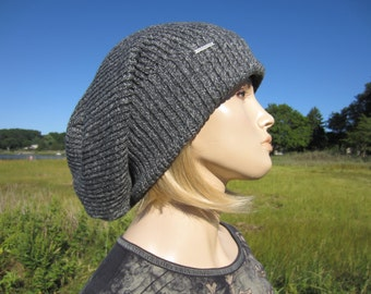 Tam Bulky Thick Oversized Slouchy Beanie Women's Big Cuff Gray Cotton Knit Baggy Back Hat A1546