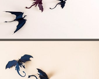 Game of Thrones inspired 3D Dragon Wall Art: dragon silhouettes, fantasy decor,  dark blue & purple mix