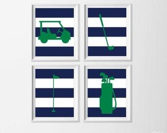 Golf Art Prints , Golf Nursery Art Kidu0027s Wall Decor , Navy Green Nursery  Sports Art Part 97