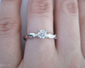 Diamond Knot Engagement Ring, Diamond Infinity Ring, Infinity Engagement Ring, Braided Rope Diamond Ring, Twisted White Gold Infinity Ring