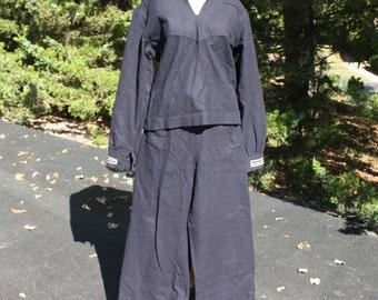 Vintage US Navy Sailor Uniform Navy Blue Cracker Jack Wool Lace Up Pants Long Sleeves Shirt