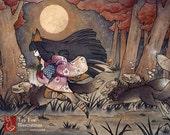 Running With Monsters / Kitsune Fox Yokai / Japanese Asian Style / 8x10 Fine Art Matte Print