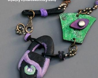 """Polymer Clay Handmade Necklace - Amethyst gemstone embedded in clay - """"Mardi Gras"""" -  One of A Kind"""