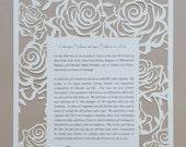 Rose Garden Laser Cut Ketubah - Custom Printed with Your Wording.
