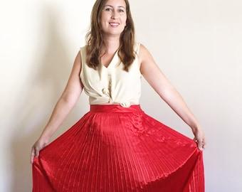 Vintage Red Silk Pleated Christian Dior Skirt / Medium / 28