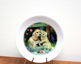 Vintage Collectors Plate Cocker Spaniel Puppy and Kitten by Pam Cooper
