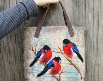 SALE was 90 USD Bullfinches felted bag