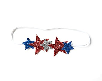 Glitter Stars Halo Headband || Red, White & Blue
